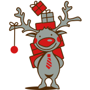 cute reindeer with red nose and Christmas presents