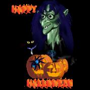 Green Witch, Black Cat, Blue Spider and Orange Pum