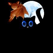 Black Halloween Kitty and Bat