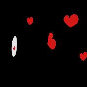 Love J txt hearts vector graphic line art