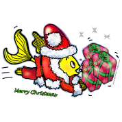 Santa Clause Fish - funny cute Christmas cartoon, By FabSpark