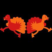 Thanksgiving Turkey Birds two running away!