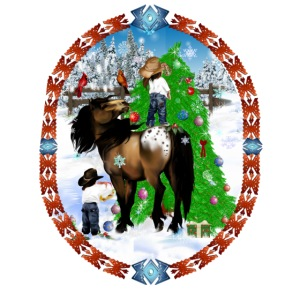 A Horse and A Kid Christmas Oval