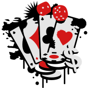 Card game hearts, spades, diamonds, clubs with dice and tokens
