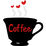 Cup of coffee & red hearts
