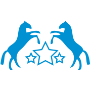TWO REARING HORSES on a star