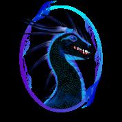 Horned Black Dragon framed