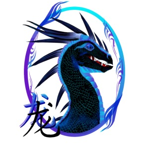 Horned Black Dragon and Symbol