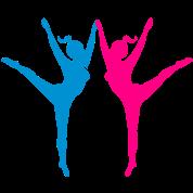 Two dancing athletics ballet ladies pirouette