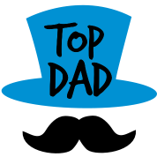 TOP DAD with top hat and moustache