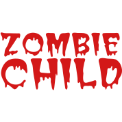 zombie child with bloody font red