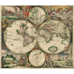 World map, 1689, public domain