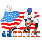 All American BaseBall player Catcher white