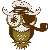 An owl with captain's hat, eye patch and pipe tobacco
