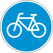 blue bicycle sign