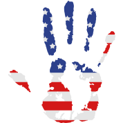 handprint with American flag