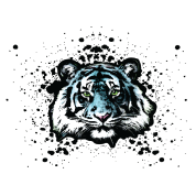 Unisex Blue Tiger - Graffiti Style Paint Splatter Big Cat Graphic Design
