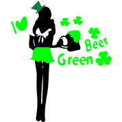 I heart green beer  Irish girl shamrock