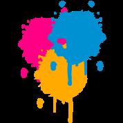 Three bright color spots in graffiti style
