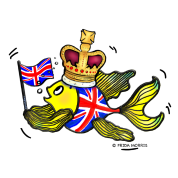 British fish holding GB Flag wearing a Crown