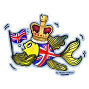 British fish holding UK Flag wearing a Crown ,Fabspark