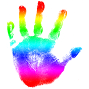 Hand print - Rainbow - Imprint, Fingerprint, palm, high five perfect for hoodies, tshirts, tanks, iphone cases, ipad cases, etc!