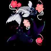 Yin and Yang Koi and Cherry Blossoms