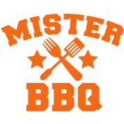 MISTER BBQ barbecue with grilling fork spatula and stars