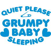 Quiet PLEASE GRUMPY baby sleeping with a safety pin and love hearts