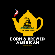 Design ~ Tea Pot - Born & Brewed American - black button