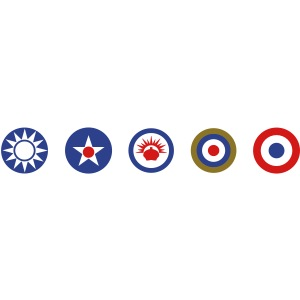 Axis & Allies Logos: China, USA, ANZAC, UK, France