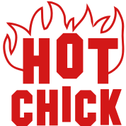 Hot CHICK with fire red