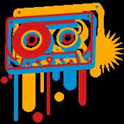 3D music cassette in graffiti style