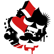 Four playing cards symbols Heart, spade, diamond, club