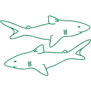 two sharks outlines menacing evil realistic