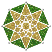 Hypercube 4D, TESSERACT, green gold, Symbol - Dimensional Shift, Metatrons Cube, Ishtar Star