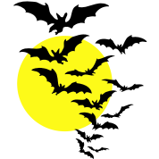 Moon & Bats TWO COLOR VECTOR