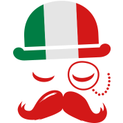 Italian nation fashionable vintage iconic gentleman with flag and Moustache olympics sports italy country