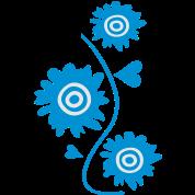 3 blue garden flowers