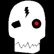 Cyborg skull red eye