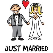 Just Married Newlyweds Cartoon