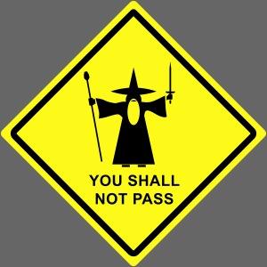 Axletee | Gandalf You Shall Not Pass warning sign - Mens Premium T ...
