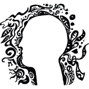 Black and white Tribal Head Silhouette