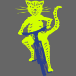 Sassy cat rides a bike