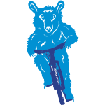 Bear rides a bike