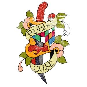 Rubik's Cube Colorful Tattoo Distressed