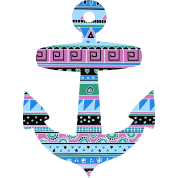 Anchor with Blue Tribal Pattern