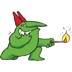 Just For Laughs Gags mascot Victor pyromaniac