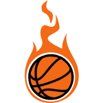 basketball with flames