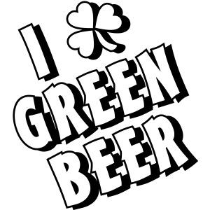 I Love Green Beer Shamrock 1 Color